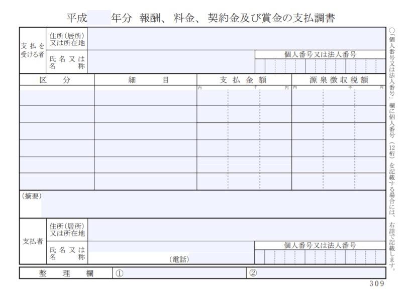 報酬、料金、契約金及び賞金の支払調書(見本)出典:国税庁