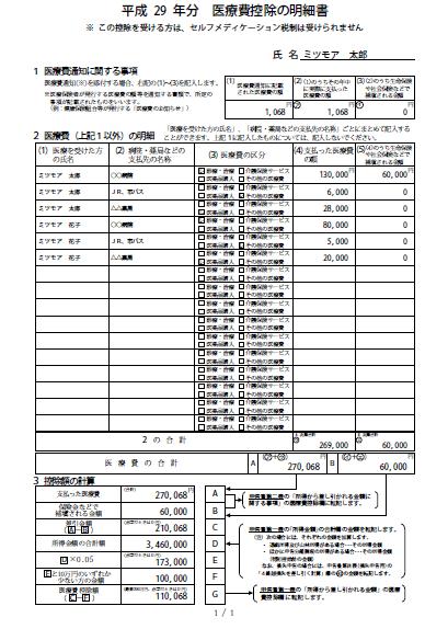 平成29年分 医療費控除の明細書