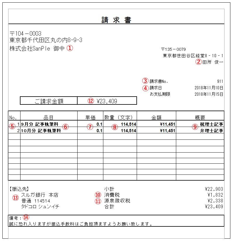 請求書の見本