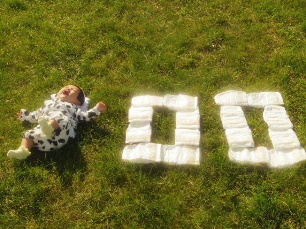 赤ちゃんのオムツアート