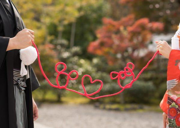 和装での前撮りに人気の赤い糸