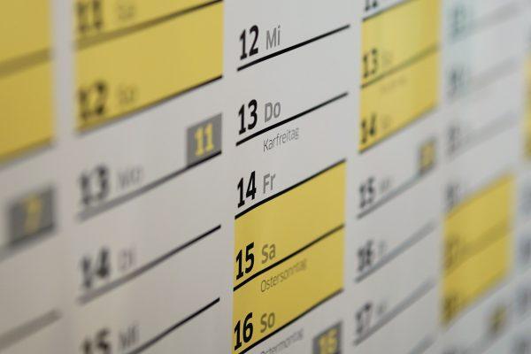 有給休暇をとる参考のカレンダー