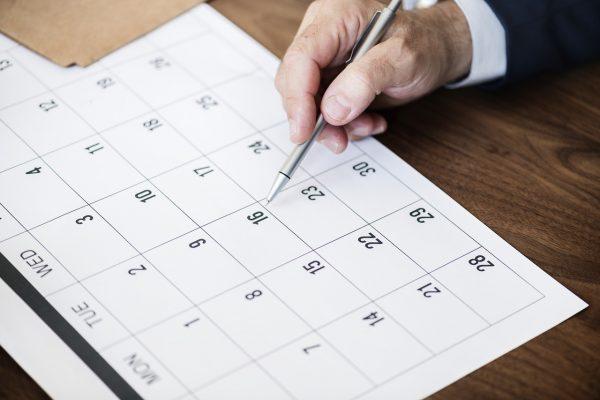 有給休暇取得日をカレンダーをみて考える