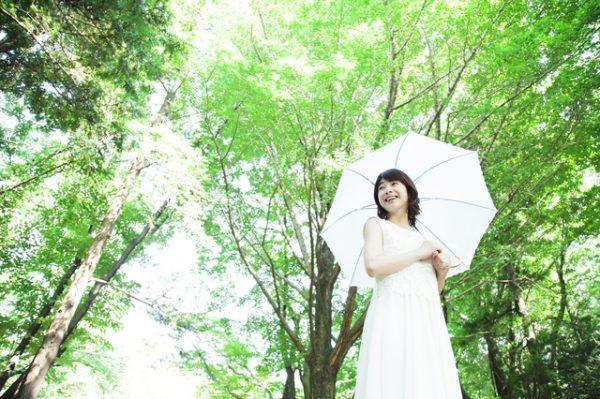 森林 女性 傘