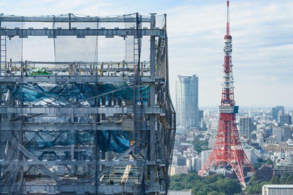 東京のビル建設現場