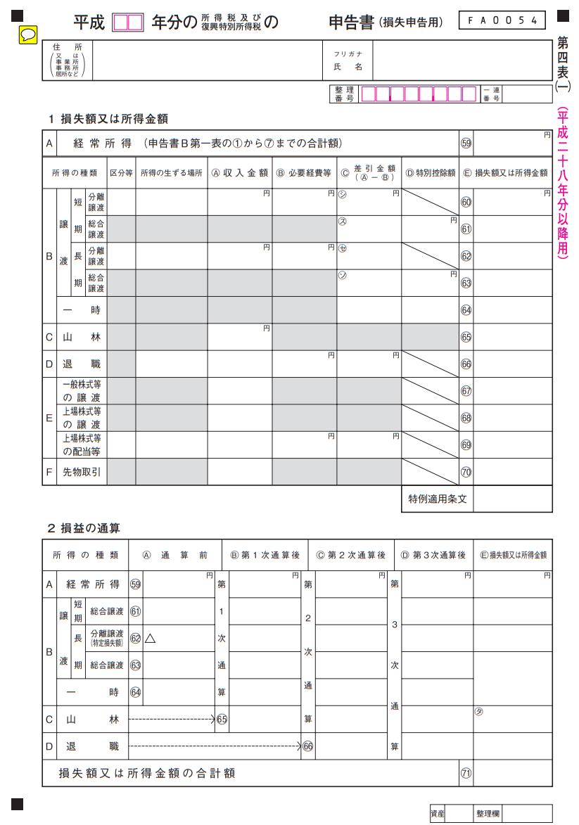 申告書第四表(損失申告用)【平成28年分以降用】